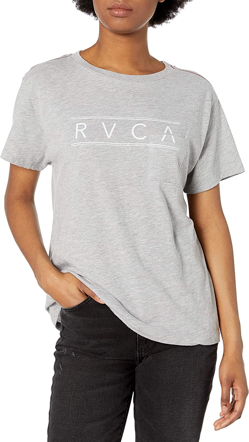 RVCA Womens Fast Script Short Sleeve Crew Neck Pocket T-Shirt