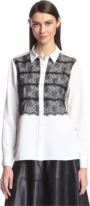 SOCIETY NEW YORK Women's Lace Panel Shirt, Ecru, L