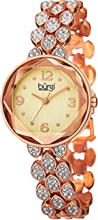 Burgi Women's Swarovski Crystal Accented Faceted Watch - Bracelet with Three Rows of Swarovski Crystals - BUR124