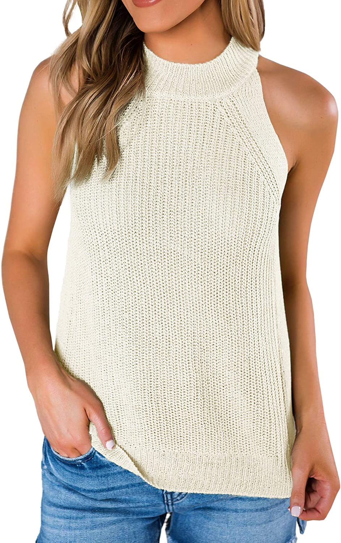 SySea Womens Summer Loose Knit Shirts Sleeveless Halter Neck Sweater Tank Tops