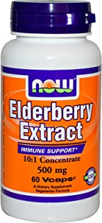 Now Foods Elderberry 500 Milligrams, 60 Veg Capsules (Pack of 2)
