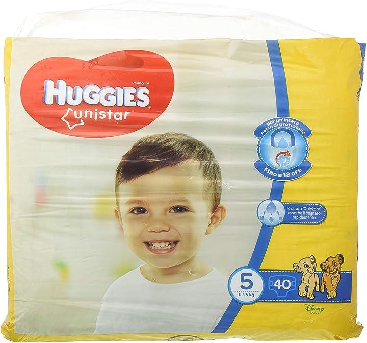 Pannolini, taglia 5 (11-25 kg), confezione da 40 pannolini huggies unistar 2576301