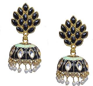 Frolics India Meenakari Hand Painted Dome Style Jhumki Hangings Push Plugs Earrings