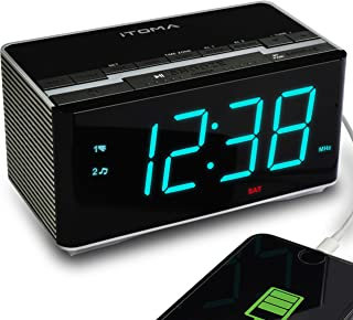 iTOMA Radio Alarm Clock FM Digital Radio Clock Bedside Alarm Clock, Wireless Bluetooth Stereo Speakers,USB Charging,Dual A...