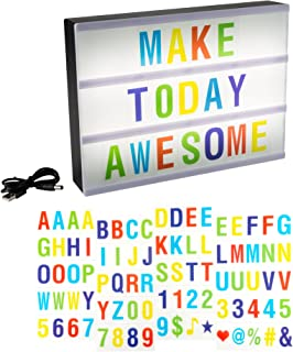 LED Cinematic Light Decorative Box Sign Interchangeable Multicolor Letters Numbers Symbols- A4 Size Marquee with USB Cable (85 Piece) By Lavish Home