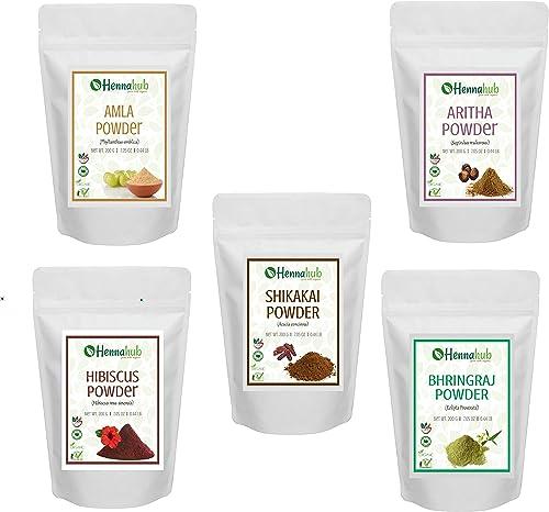Hennahub Amla, Reetha Shikakai, Bhringraj and Hibiscus Powder for Hair, 200g each (Pack of 5)