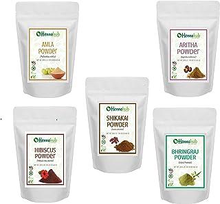 Hennahub Amla,Reetha,Shikakai,Bhringraj and Hibiscus Powder for Hair, 200g each (Pack of 5)