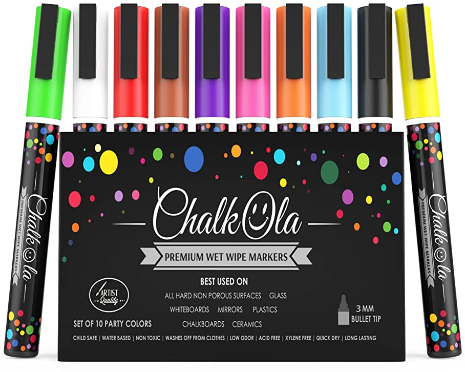 Fine Tip Chalk Markers - Pack of 10 neon Color pens - Non Toxic Wet Erase Chalkboard Window Glass Pen - 3mm Reversible Bullet & Chisel Nib s966187427