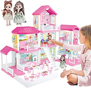 PP PICADOR Dollhouse for 2 3 4 5 Year Old Girls, Dreamhouse Furniture Toys Figure wtih Lights, Accessories, Pets, DIY Cottage Pretend Play Doll House Gift Kit for Baby Toddlers Kids