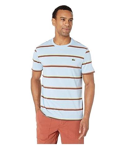 Lacoste Short Sleeve Striped Light Jersey Pima Cotton T-Shirt (Creek/Multicolor) Men