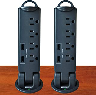 Electriduct Desktop Pull-Up PowerTap Grommet with Surge Protector and USB - 2 Pack