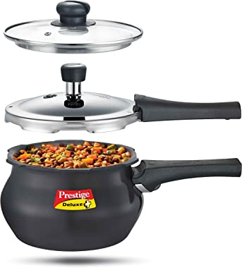 Prestige Deluxe Duo Plus Induction Base Hard Anodised Pressure Cooker Glass Lid, 1.5 Litre, Black