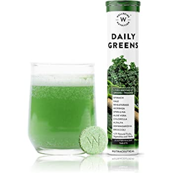 Wellbeing Nutrition Daily Greens, Wholefood Multivitamin with Vitamin C, Zinc, B6, B12, Iron for Immunity and Detox with 39+ Organic Certified Plant Superfoods & Antioxidants(15 Effervescent Tablets)