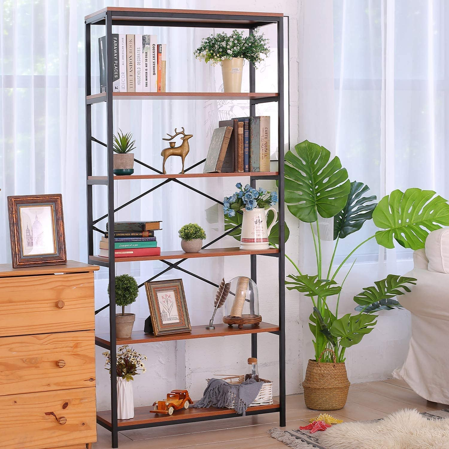 5 Tier Max Our shop most popular 61% OFF Industrial Bookshelf Free Standi Vintage Tall