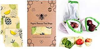 Organic Beeswax Food Wrap, Zero Waste Sustainable Food Storage, Pack of 3 Small, Medium, Large, with 3 Reusable Produce Bags