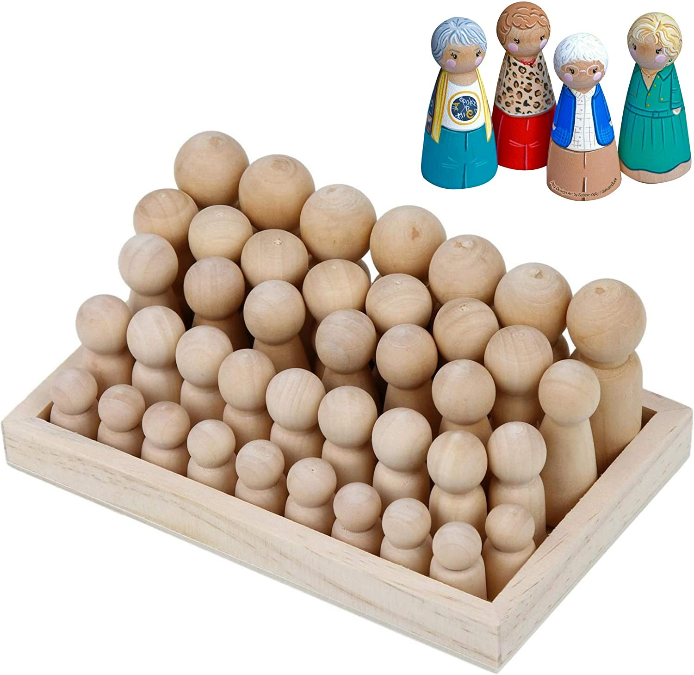30Pcs//box Solid Hardwood Natural Unfinished Wooden Dolls Unisex Peg Dolls 3 Size