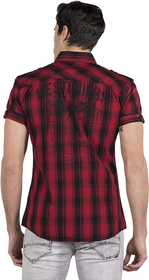 Koroshi Camisa DE Cuadros Estampada EN Espalda: Amazon.es: Ropa