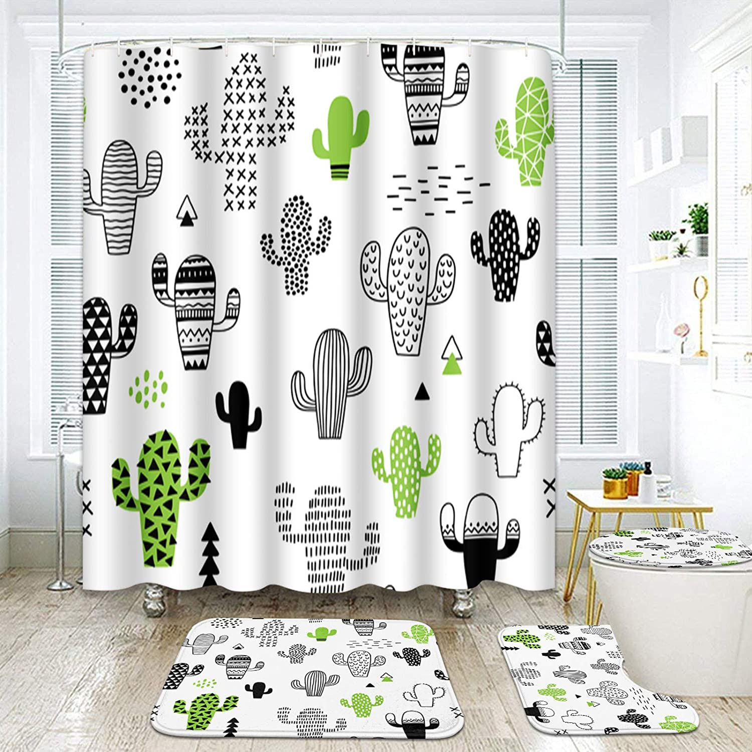 ArtSocket 4 Pcs Shower Curtain Set Cute Green Cactus Desert Summer Kids Hipster houseplant Abstract Vintage with Non-Slip Rugs Toilet Lid Cover and Bath Mat Bathroom Decor Set 72