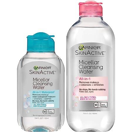 Garnier SkinActive Micellar Cleansing Water, For All Skin Types, 13.5 fl oz + Micellar Cleansing Water, For Waterproof Makeup, 3.4 fl oz