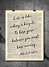 Albert Einstein - LIfe Is Like A Bicycle Quote Vintage Art - Authentic Upcycled Dictionary Art Print - Home or Office Decor - Inspirational And Motivational Quote Art