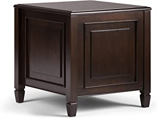 Simpli Home 3AXCCON-03 Connaught Solid Wood 21 inch Wide Rectangle Traditional End Table with Tray in Dark Chestnut Brown
