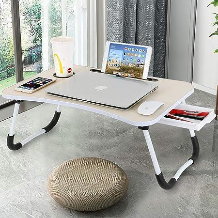 Baodan Bureau d'ordinateur portable pour ordinateur portable - Pliable - Multifonction - Avec fente pour tasse - Pour le petit-déjeuner sur le lit, le canapé, le sol - Jaune