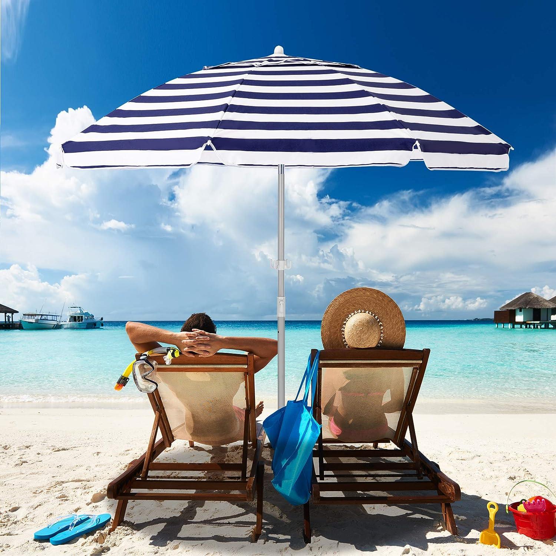 MEWAY 未使用 7.5ft Beach Umbrella with Tilt Anchor 激安価格と即納で通信販売 Sand Mechanism Po