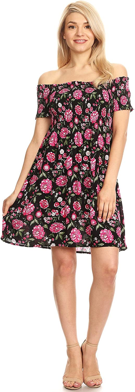 Ambiance Apparel Women's Junior Off Shoulder Floral Print Short Dress