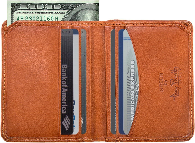 Tony Perotti Mens Italian Cow Leather Slim Front Pocket Bifold Weekend Wallet in Honey