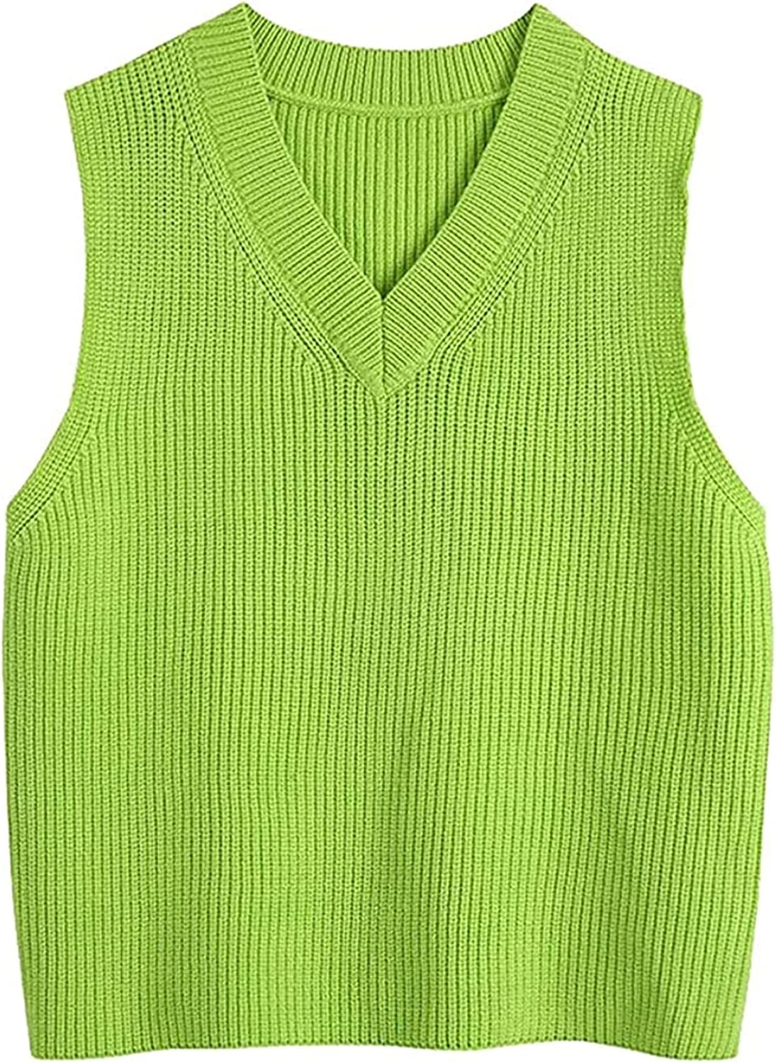 Women with Ribbed Trims Knitted Vest Sweater Vintage V Neck Sleeveless Waistcoat Chic Tops