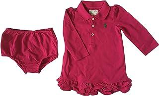 Polo Infantil Niña 2 Piezas Vestido Manga Larga (6 Meses) Color Fucsia Rojo