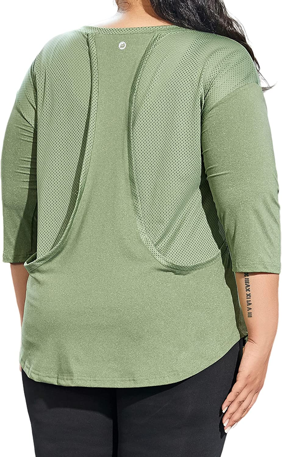 Women's Plus Size Mesh Workout Tops 3/4 Sleeve Sport Tee Racerback Athletic Yoga Gym Shirts