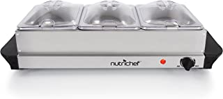 NutriChef Buffet Server Chafing Dish Set & Hot Plate Food Warmer - 1.5 quart Serving Containers with Lids, Portable Stainless Steel Electric Warming Tray Features 3 Section - AC Powered - (AZPKBFWM21)