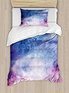 Ambesonne Navy and Blush Duvet Cover Set, Watercolor Style Starry Space Galaxy Nebula Abstract Cosmos Inspired, Decorative 2 Piece Bedding Set with 1 Pillow Sham, Twin Size, Salmon Pink