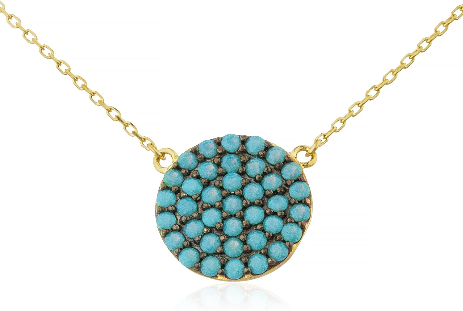 14k gold 12mm Round Pendant with 18 inch DCut Link Necklace