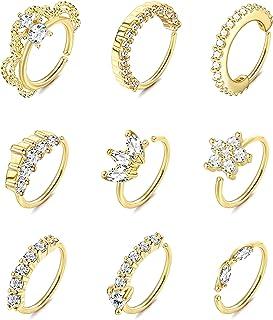 FIBO STEEL 20G Nose Ring Hoop for Women Men Paved CZ Cartilage Earring Bendable Body Ear Piercing Hoop Ring 9Pcs