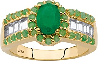 14K Yellow Gold over Sterling Silver Oval Cut Genuine Emerald and White Topaz Ring