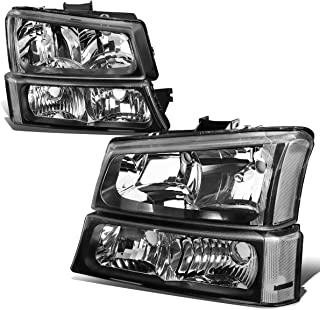 Black Housing Clear Corner Headlight+Bumper Light for Chevy Silverado Avalanche 03-06 w