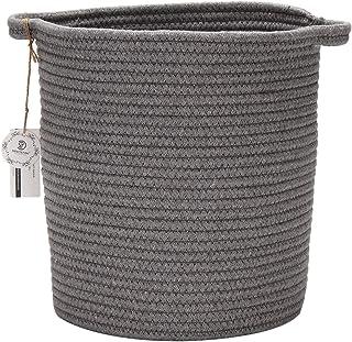 Sea Team Panier de rangement avec poignées en fil de coton naturel 30 x 23,1 cm (H x D) - Pour chambre d'enfant - Gris