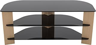 AVF FS1100VAROB-A Varano TV Stand with Glass Shelves for TVs up to 55-Inch, Oak and Black Glass