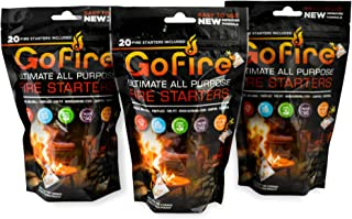 GoFire Ultimate All Purpose Fire Starter, 3 Bags of 20 Firestarter Packs, Waterproof, Non Toxic, Packable and Perfect for ...