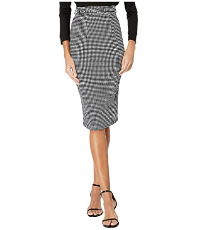 Unique Vintage 1960s Houndstooth High-Waist Marcia Wiggle Skirt (Black/White) Women