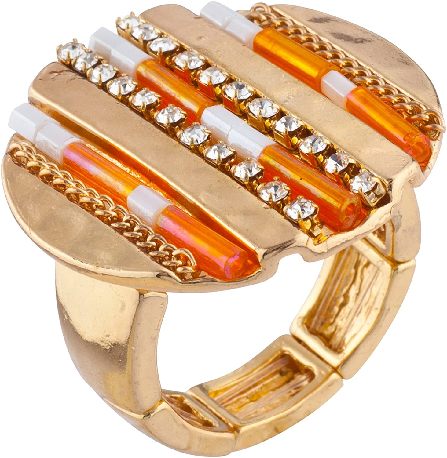 LUX ACCESSORIES Gold Tone Orange Beaded Hammered Circle Stretch Statement Ring