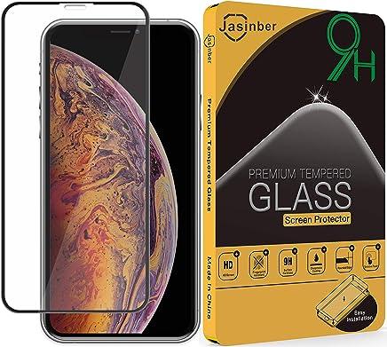 Jasinber Mica de Vidrio Cristal Templado de Cobertura de Pantalla Completa para iPhone X/XS (Negro)