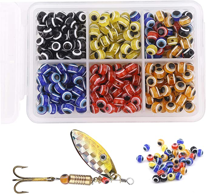 Green 6x6 MM  Round Soft Rubber Luminou Fishing Beads Glowing  Qty 500