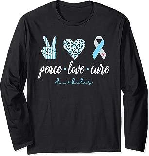 Peace Love Cure Grey Blue Ribbon Type 1 Diabetes Awareness Long Sleeve T-Shirt