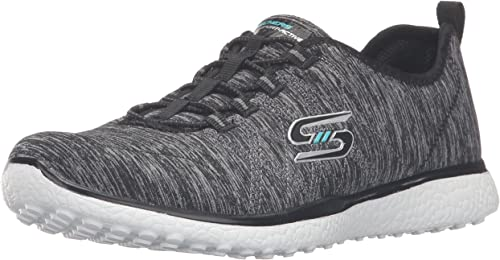 Skechers Microburst On On The Edge femmes Slip On chaussures, noir blanc, 37.5 EU B(M)