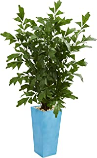 Nearly Natural 5634 4.5' Fishtail Palm Tree in Turquoise Planter Artificial Plant, Green