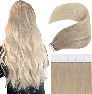 You Shine Tape in Onzichtbare Haar Extensies 22inch Kleur 18/60 Ash Blonde Fading naar Platinum Blonde 50g Remy Real Human...