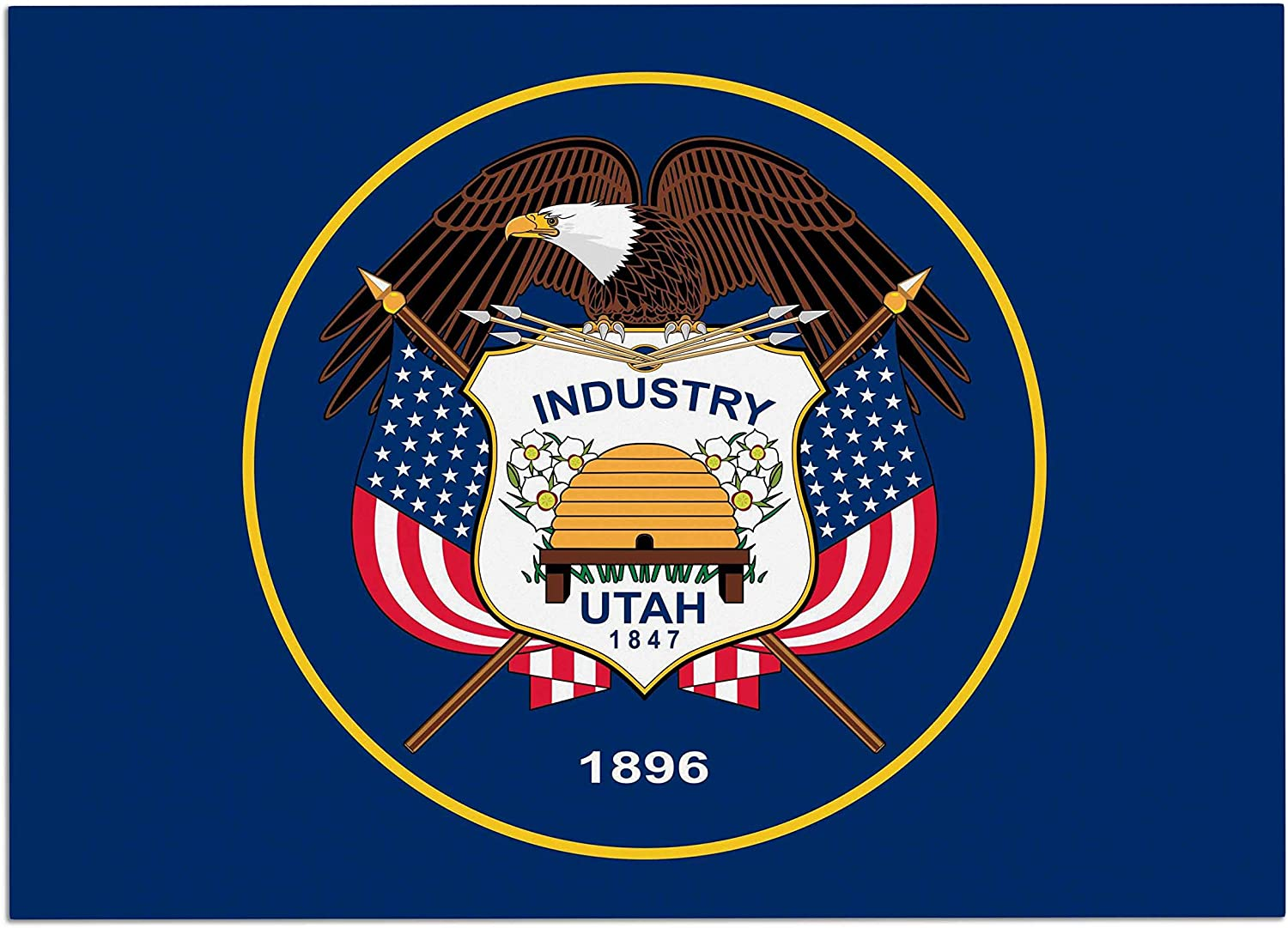 KESS InHouse BS1040ADM02 Bruce Stanfield Utah State Flag Authentic bluee Red Dog Place Mat, 24 x15